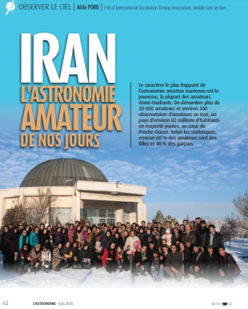 An article on amateur astronomy in Iran was published in L'Astronomie magazine